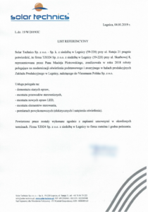 obrazek do wpisu List referencyjny z Solar Technics – Modernizacja oświetlenia podstawowego